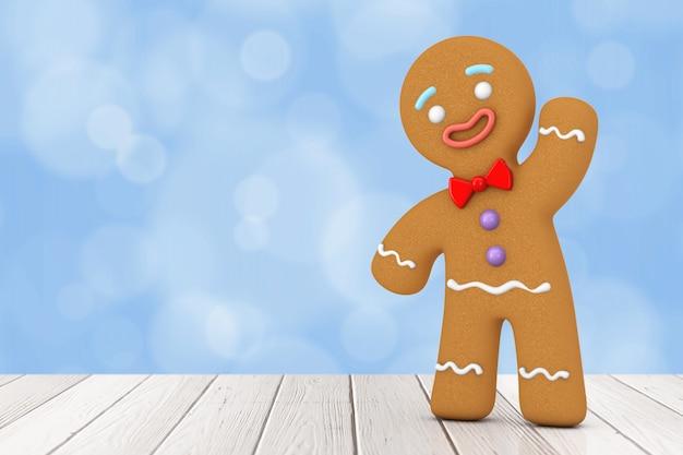 휴일은 파란색 배경에 클래식 진저브레드 맨 쿠키를 장식했습니다. 3d 렌더링
