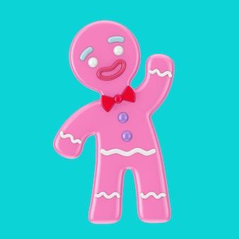 青い背景の上のデュオトーンスタイルの休日に飾られた古典的なピンクのジンジャーブレッドマンクッキー。 3dレンダリング