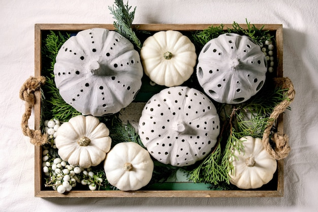 Holiday decoration with white decorative pumpkins, craft clay pumpkins, thuja branches, berries in old wooden tray.