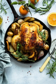 Holiday dinner with roasted chicken and potatoes food photography