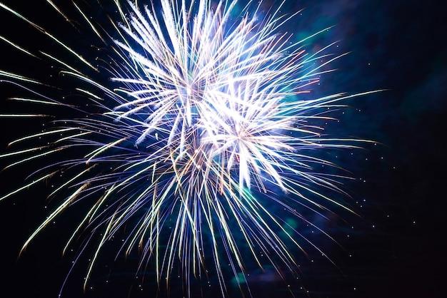 검은 하늘에 밤에 휴일 불꽃놀이