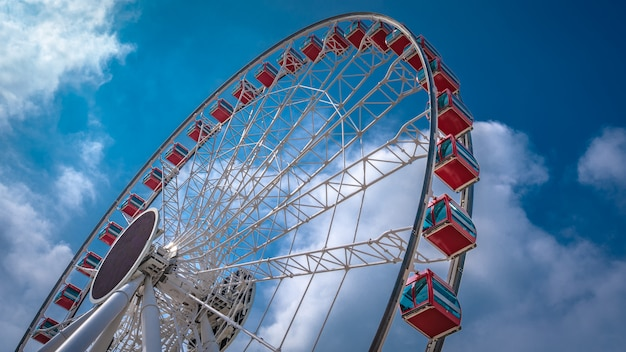Holiday funfair with ferris wheel