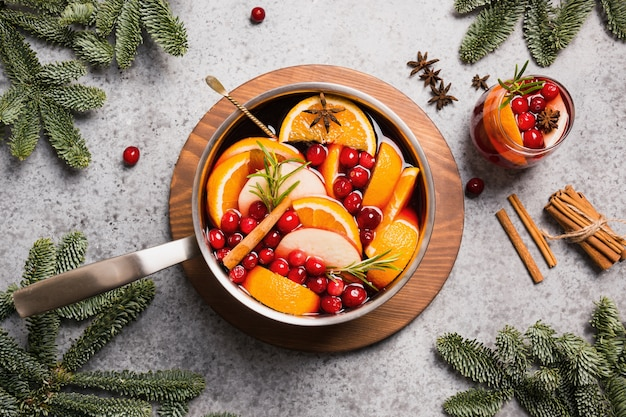 Holiday mulled wine with various fruits