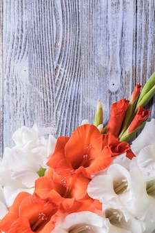美しい花と休日の自然の背景、上面図