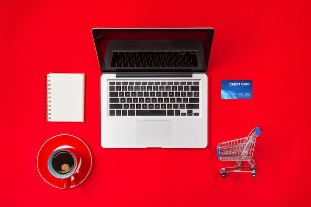 Holiday online shopping concept. view from above with copy space