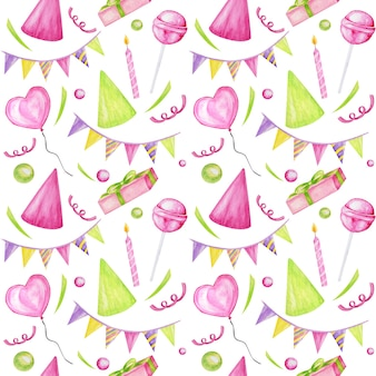 Holiday seamless pattern with colorful candies, cupcake, balloon, gift, confetti, star, carnival cap. happy birthday or party greeting card, scrapbooking, fabric, texture, gift paper concept.