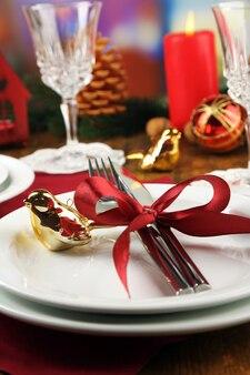 크리스마스 장식 배경으로 휴일 테이블 설정