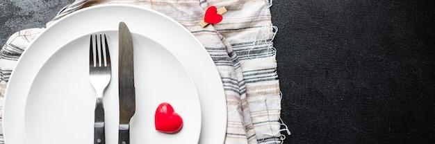 休日食器お祭り設定ラブプレート、フォーク、ナイフバレンタインデー