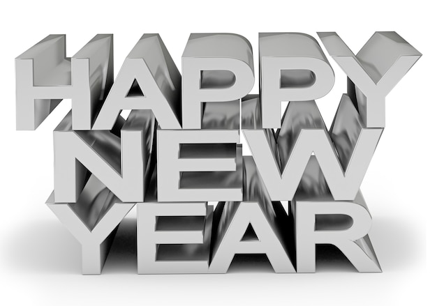 Holiday text happy new year isolated on white
