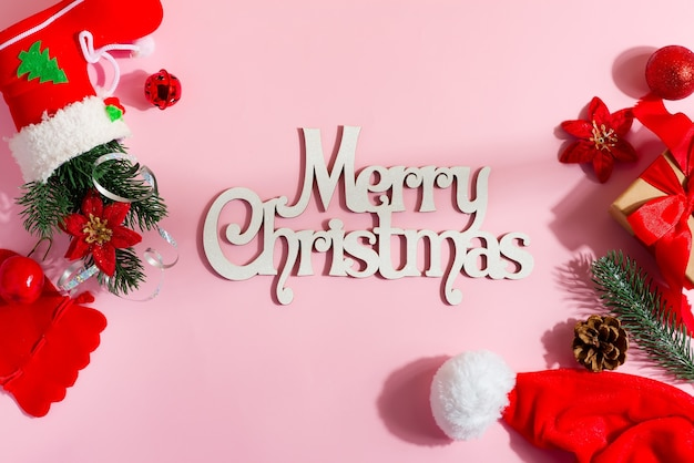 Holidays flat laywith wooden words merry christmas.