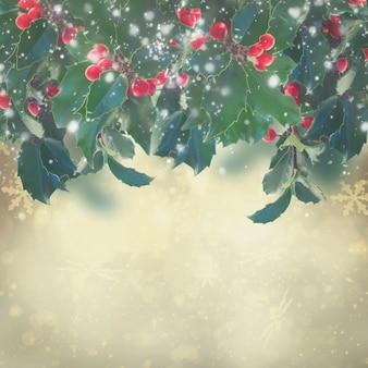 Ветка падуба с листьями и ягодами граничит на сером фоне боке, в тонах в стиле ретро