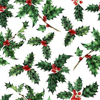 ヒイラギシームレスパターン水彩休日イラスト緑の葉と赤いベリー新年
