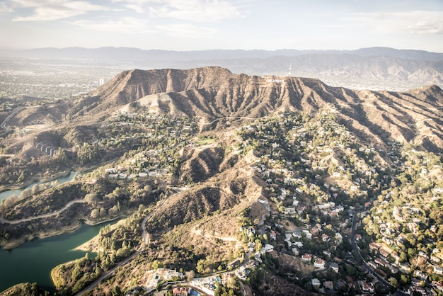 Hollywood aerial view from helicopter