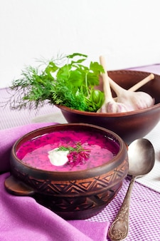 Holodnik, traditional lithuanian cold beetroot soup