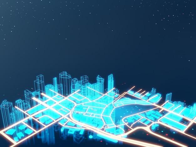 Iot 또는 스마트 시티 개념의 검은 화면에 홀로그램 건물