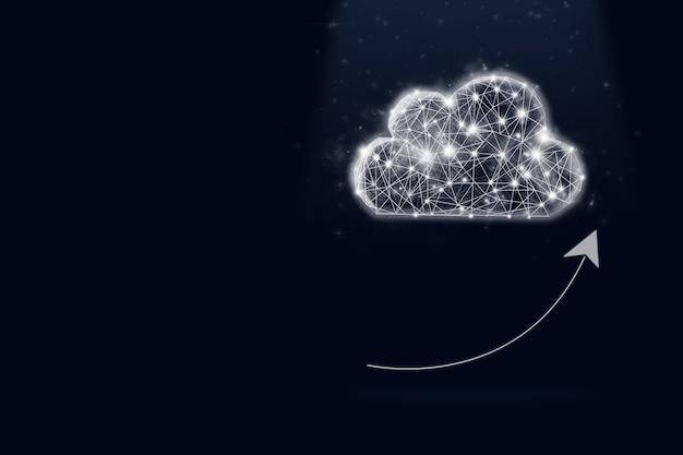 Hologram cloud storage on dark blue background with shine. future technology concept. busines
