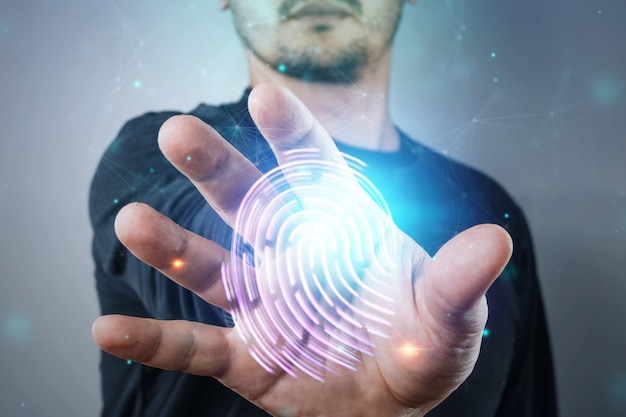 Hologram fingerprint, male hand information technology cyber security