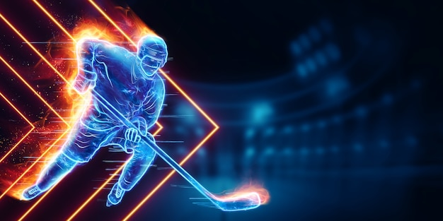 Hologram of a hockey player silhouette on fire