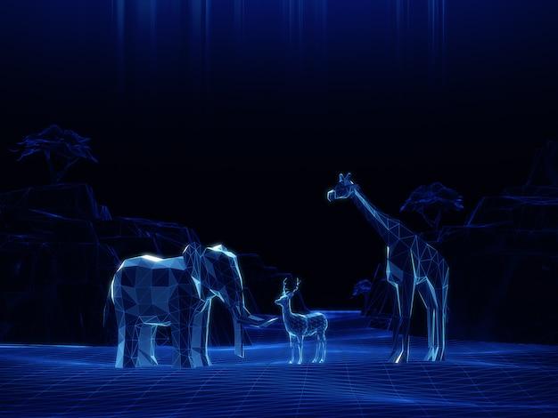 Голограмма в режиме 3d модель низкополигональная слоны, олени, жирафы на темном пространстве.