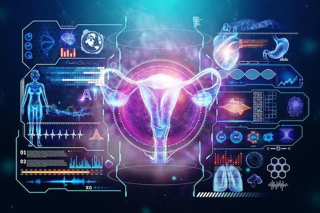 다른 의학적 징후가있는 자궁 여성 기관의 홀로그램, 자궁 초음파. 초음파 개념, 부인과, 산부인과, 배란, 임신. 3d 그림, 3d 렌더링.