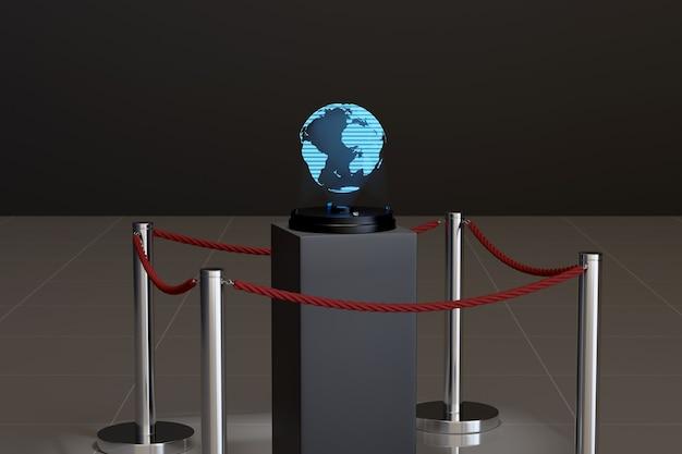 Голограмма планеты земля в комнате музея.