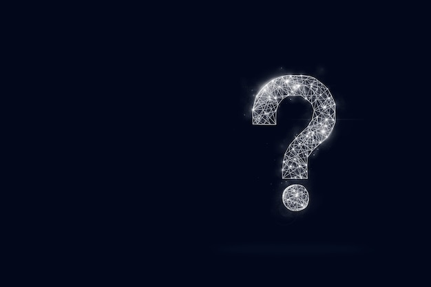 Hologram of the question mark on dark blue background.