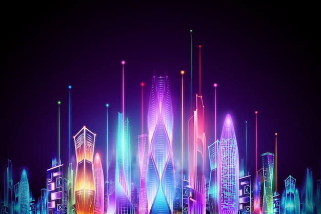暗い背景、ビッグデータ転送技術の概念のホログラムスマートシティ夜のネオン。 3dレンダリング、3dイラスト。