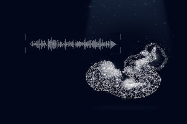 Hologram ultrasound image of baby in mother's womb with sound wave on dark blue background