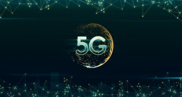 Holograms depict the world in digital networks 5g and the internet. light line of 5g iot (internet of things) wireless network connection concept  3d illustration  rapid communication network