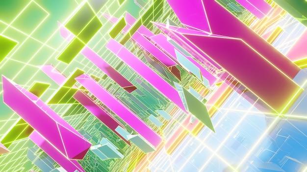 복고 및 홀로그램 장면에서 홀로그램 형상 배경입니다.