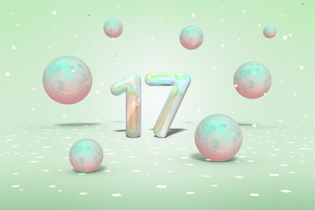 Holographic number 17 with flying shiny neon balls and gold confetti