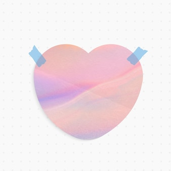 Holographic paper note with heart shape and washi tape