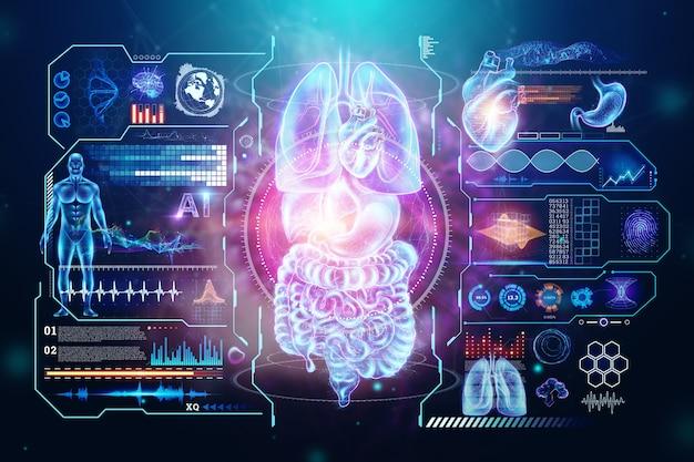 Голографическая проекция сканирования внутренних органов человека.