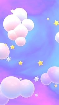 雲と星の垂直3dレンダリング画像とホログラフィック空