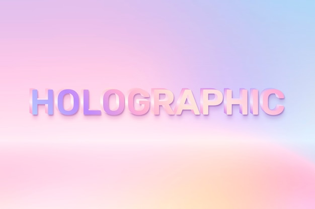 Holographic in word in colorful text style