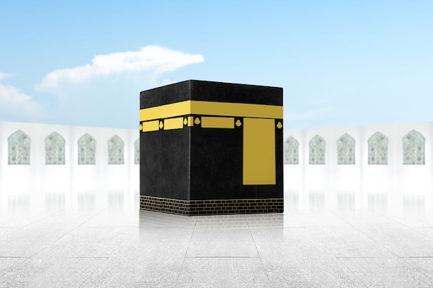 The holy kaaba with blue sky background