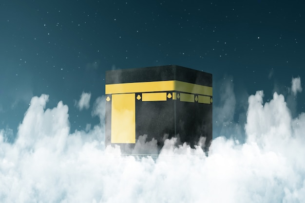 The holy kaaba with the night scene background
