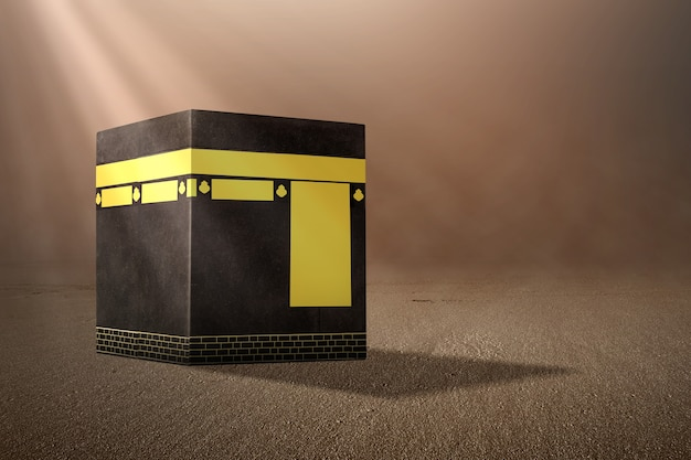 The holy kaaba with sunlight background