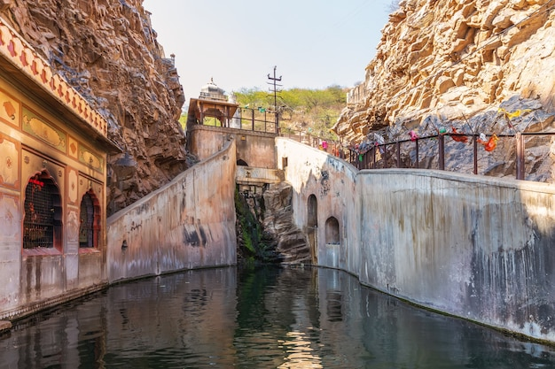 Holy kund in monkey temple or galta ji complex, india, jaipur.