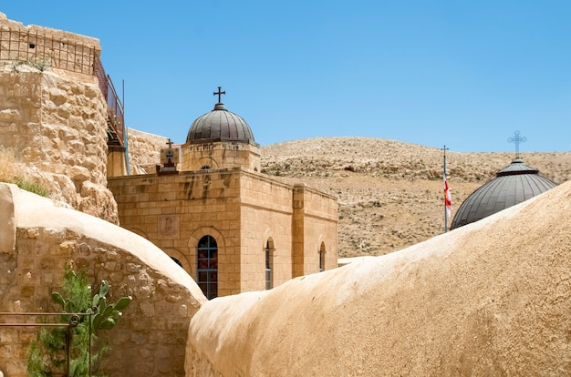 The holy lavra of saint sabbas the sanctified, known in arabic as mar saba, judean desert, israel. a greek orthodox monastery overlooking the kidron valley