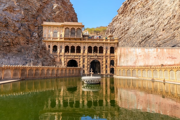Holy temple of india known as monkey temple in jaipur.