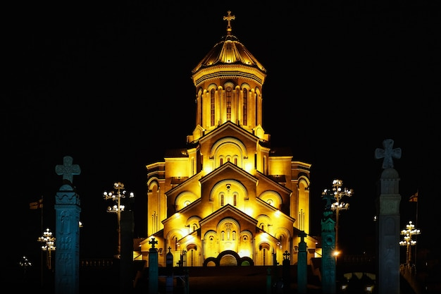 The holy trinity cathedral of tbilisi commonly known as sameba in georgia night time