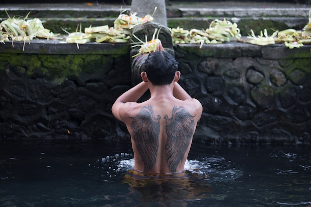 Holy water in temple bali