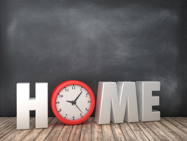 Home 3d word with clock on chalkboard