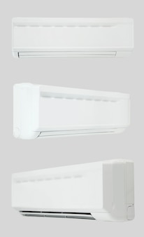 Home air conditioning on a white background with three camera angles