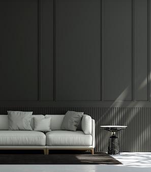 Дом, украшения и мебель минималистичного дизайна интерьера гостиной и черного стенного фона