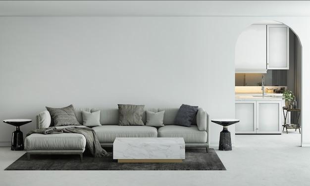 가정 및 장식 가구는 거실과 식당 및 빈 벽 질감 배경의 인테리어 디자인을 조롱