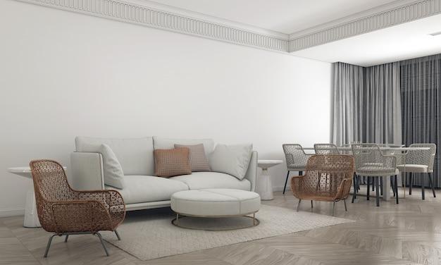 가정 및 장식 가구 거실과 식당 ans 최소한의 소파 스타일과 빈 벽 배경 3d 렌더링의 인테리어 디자인을 모의