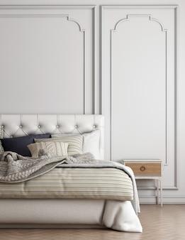 Мебель для дома и отделки макет дизайна интерьера гостиной и роскошной кровати и пустой стены фон 3d-рендеринга