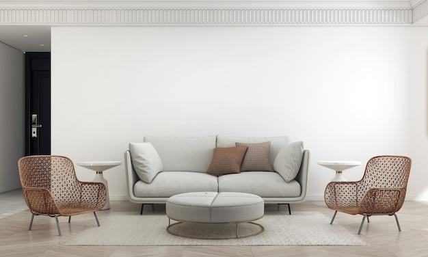 가정 및 장식 가구 거실과 최소한의 소파 스타일과 빈 흰 벽 배경 3d 렌더링의 인테리어 디자인을 모의